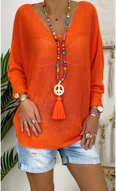 Pull Rayan Maille Fine Orange