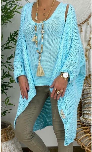 Gilet Dany Oversize Petite Maille Bleu Turquoise