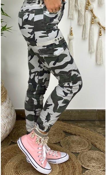 Pantalon Slim Cargo Miguel Gris Camouflage