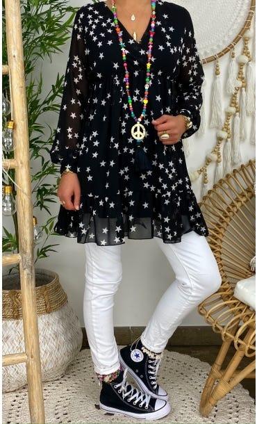 Tunique Stella Noir Star Blanc