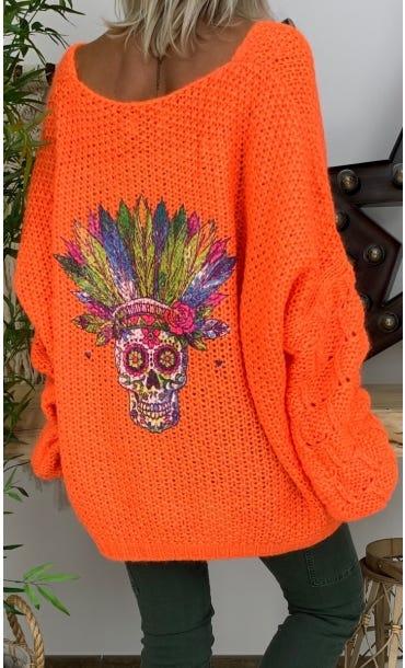 Pull Malone Oversize Orange Fluo Indian Skull