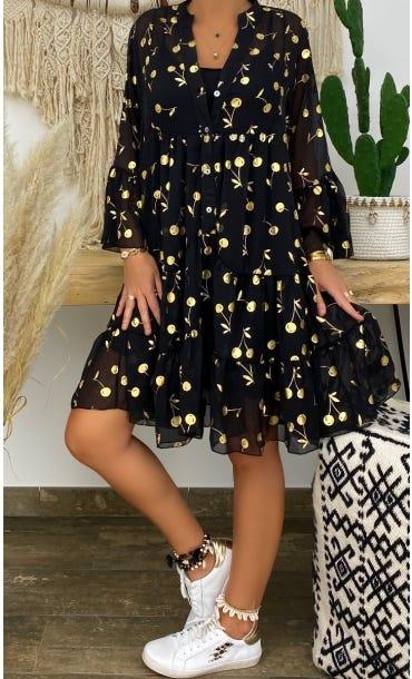 Petite Robe Yanna Noir Golden Cherry