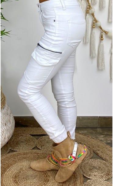 Pantalon Slim Cargo Miguel Blanc
