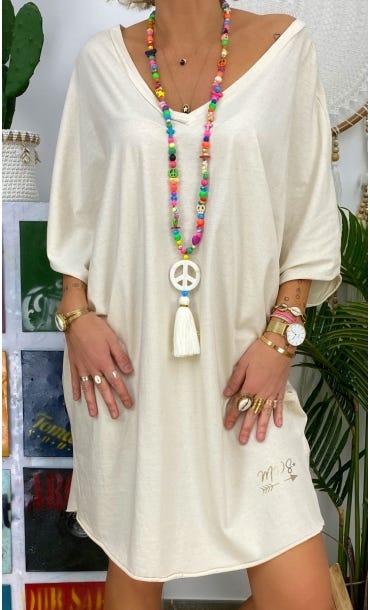 Petite Robe Farah Oversize Ultra-Light Ecru