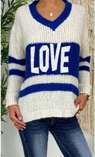 Pull Maylone Blanc Cassé Love Bleu Electrique