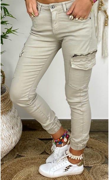 Pantalon Slim Cargo Miguel Beige