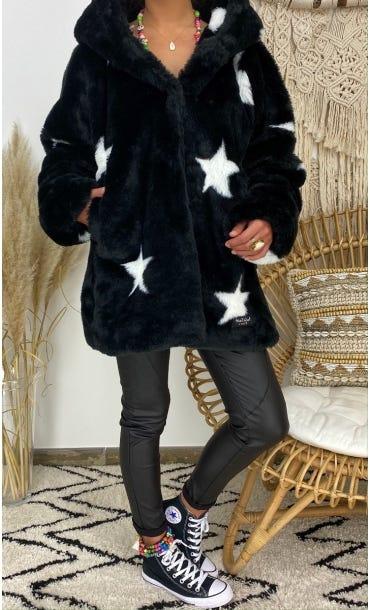 Manteau Lorenzo Noir Star Blanc
