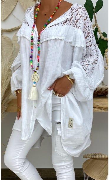 Tunique Ambre Oversize Blanc