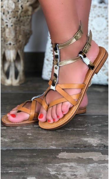 Sandales Isaure Or Léopard Beige