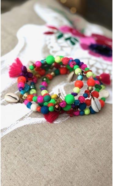 Bracelet De Cheville Magik Candy Cross Pompon Rose Fuchsia