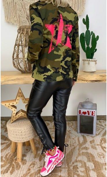Veste Thais Kaki Camouflage Star Rose Fluo