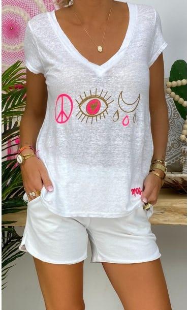 T-Shirt Elio MC Lin Blanc Love Signs Rose Fluo