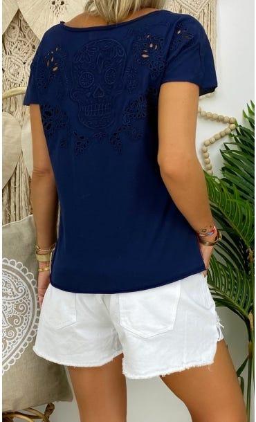 T-Shirt Anton Bleu Marine Skull