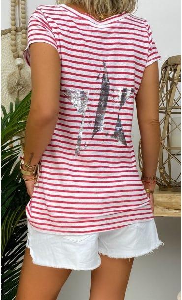 T-Shirt Elio MC Lin Blanc Marinière Rouge Star Argent