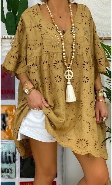 Tunique Vanya Oversize Broderie Camel