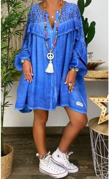 Tunique Ambre Oversize Bleu Jean