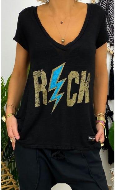T-Shirt Elio MC Lin Noir Rock Flash Bleu Turquoise