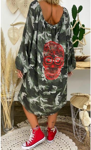 Petite Robe Darcy Voile De Coton Kaki Camouflage Skull Rouge