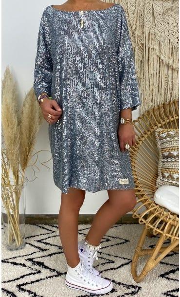Petite Robe Amelia Sequins Argent