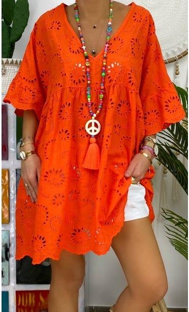 Tunique Vanya Oversize Broderie Orange