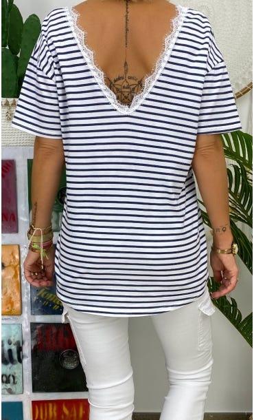T-Shirt Romane Blanc Marinière Bleu