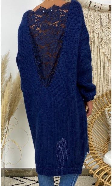 Petite Robe Pull Lisy Bleu Marine