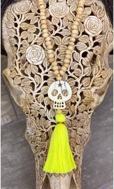 Sautoir Kewan Jaune Fluo Skull