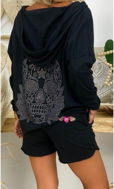 T-Shirt Coco ML Noir Skull Strass