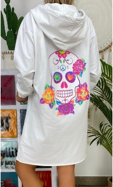 Petite Robe Sweat Kalissy Blanc Colorful Skull