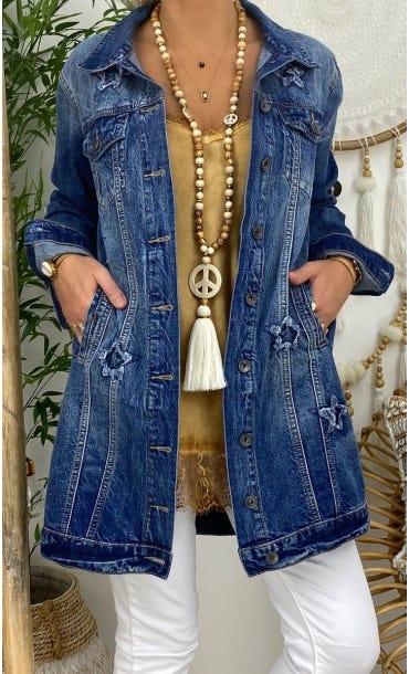 Veste Longue Jean's Rime Used Brut Star