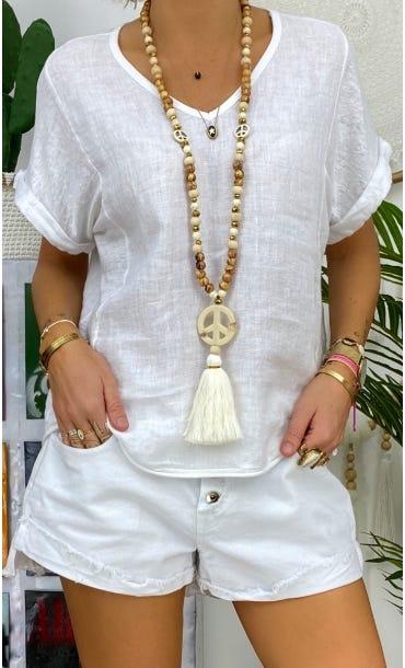 T-Shirt Timéo Lin Blanc