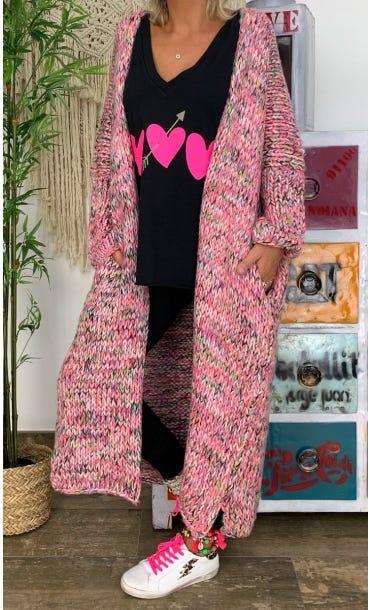 Gilet Long Gary Oversize Rose & Noir