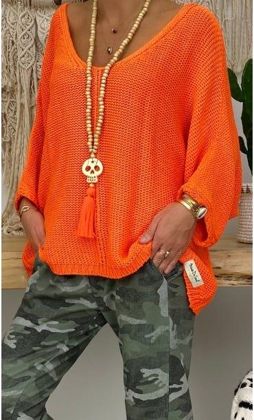 Sautoir Kewan Orange Fluo Skull