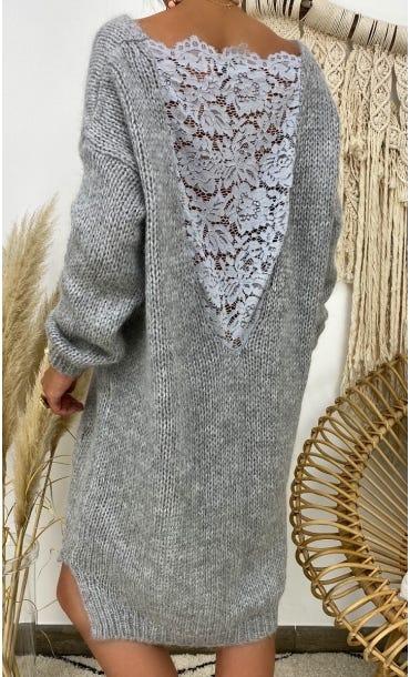 Petite Robe Pull Lisy Gris Clair