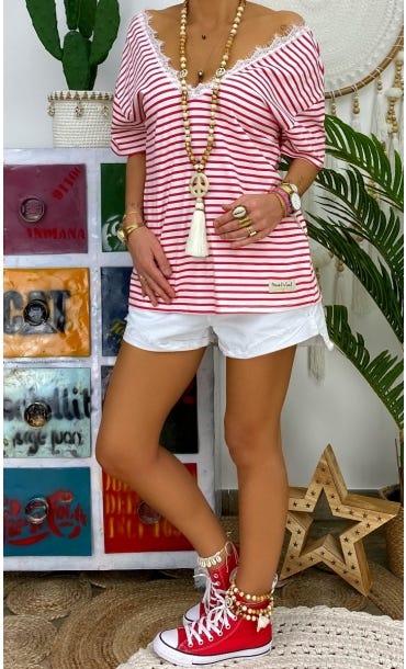 T-Shirt Romane Blanc Marinière Rouge