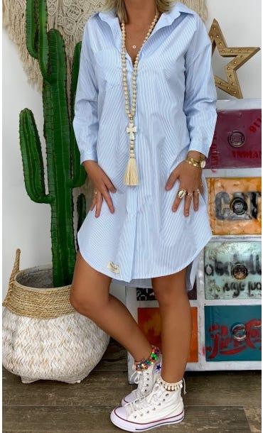 Petite Robe Chemise Annia Blanc Rayure Bleu