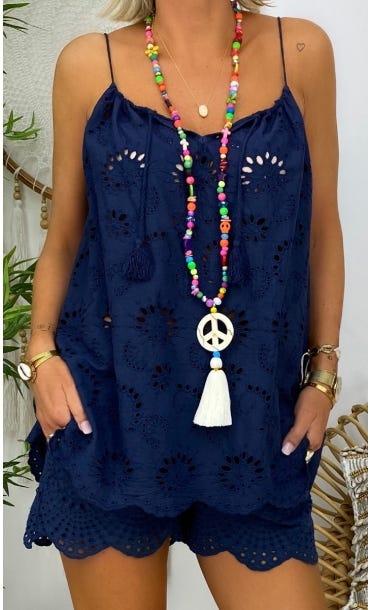 Tunique Tammy Broderie Bleu Marine