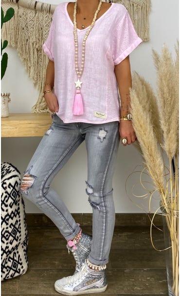 T-Shirt Timéo Lin Rose Clair