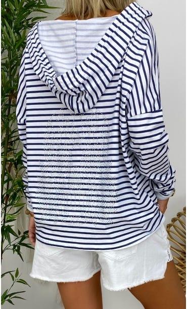 T-Shirt Coco ML Blanc Marinière Bleu Skull Strass