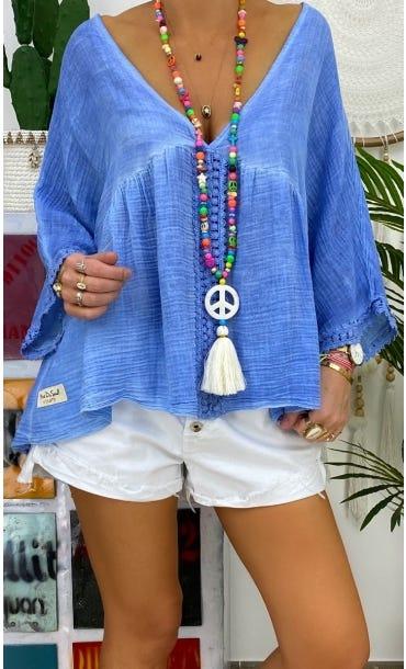 Tunique Lucia Voile De Coton Bleu Jean