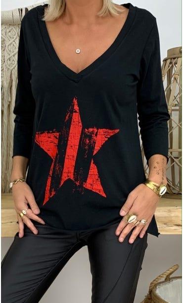 T-shirt Elio ML Noir Star Rouge