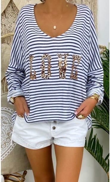 T-Shirt Gabin ML Blanc Marinière Bleu Love Léopard