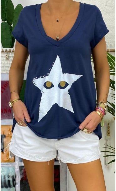 T-Shirt Elio MC Bleu Marine Star Peekaboo Blanc