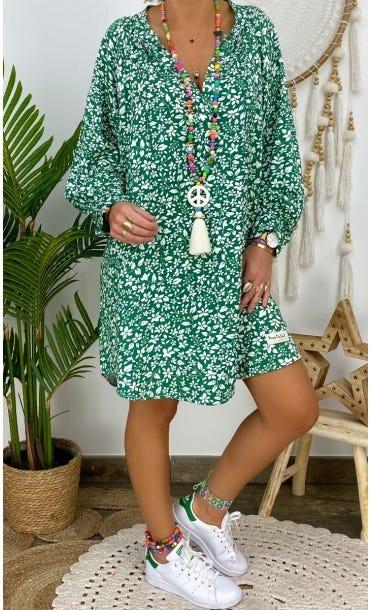 Petite Robe Zoé Vert Lys Blanc