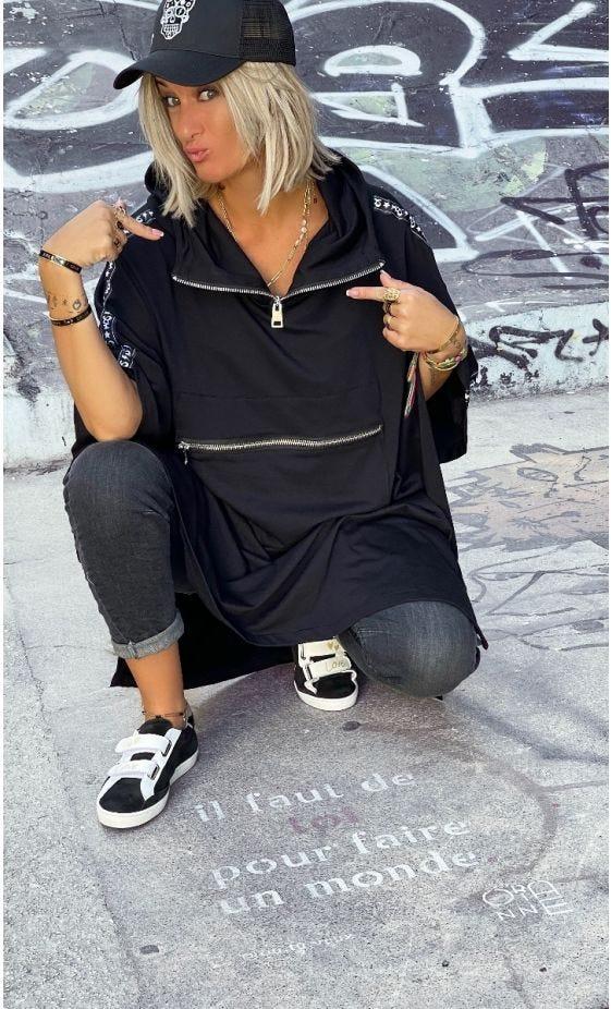 Poncho Darren Sweat Oversize Noir Bande MDS