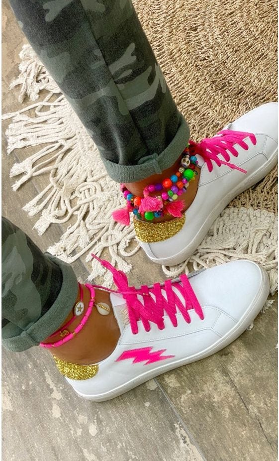 Baskets Amy Eclair Rose Fluo Contrefort Glitter Or