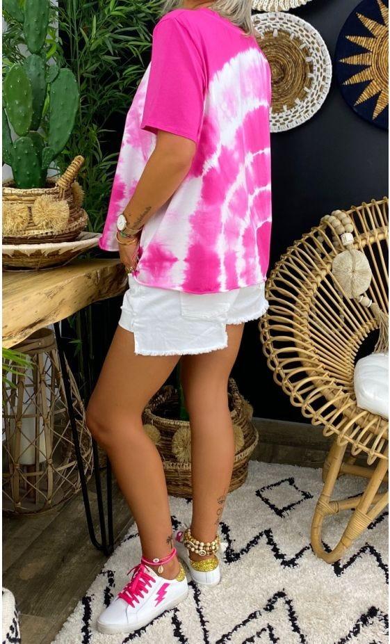 T-Shirt Giovani MC Tie And Dye Rose Fuchsia