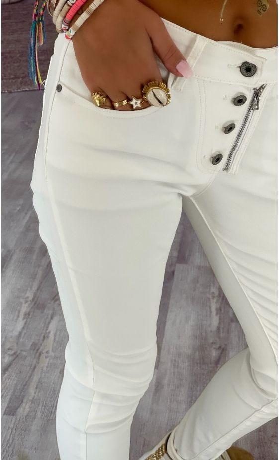 Pantalon Slim Meryl Huilé Blanc Cassé