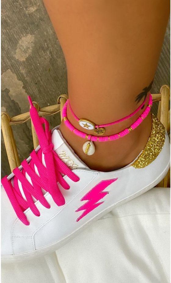 Bracelet De Cheville Apsara Rose Fluo