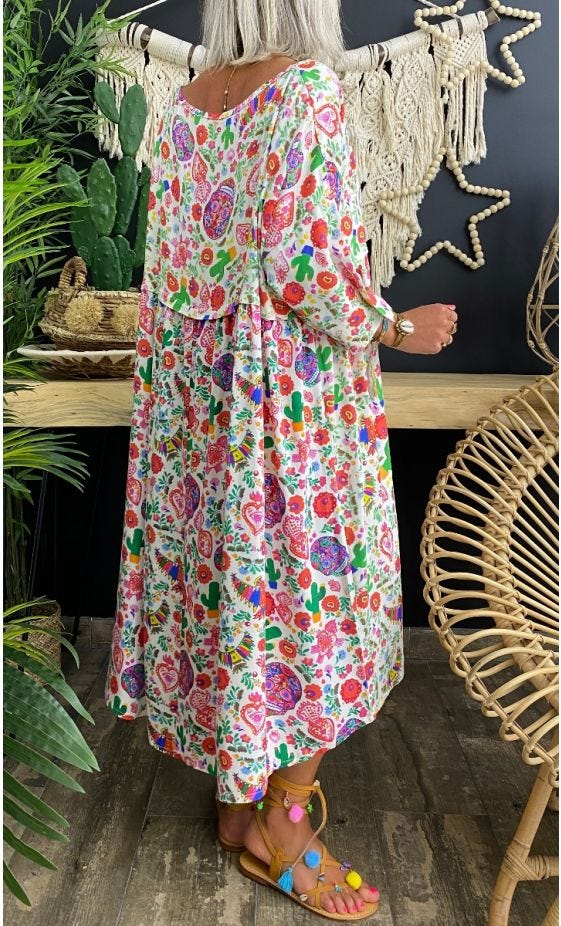 Robe Louane Blanc Mexico Multicolor